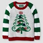 Ugly Christmas Sweater Toddler Boys' Mustache Christmas Tree Sweater - Silver