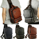 Men's Leather Front Sling Backpack Satchel Shoulder Bag Chest Cycle Day Packs