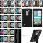 For LG Logos H443 Hybrid Dual Layer Protective Armor Case w/ Built-in Kickstand