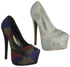 WOMENS LADIES DIAMANTE SATIN PLATFORM HIGH STILETTO HEEL BRIDAL COURT SHOES 3-8