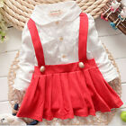 Baby Girls Dress Long Sleeve Cotton Braces  Mini Above Knee Casual Girl Dresses
