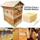 2/4/7pcs Auto Move Down Honey Gather Frames + Wooden Beehive Set For Beekeeping