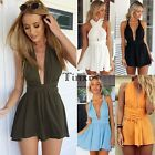 Womens Backless Party Jumpsuit Playsuit Sexy Romper Mini Dress Ball Gown TXWD