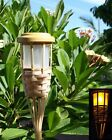4 5-LEDs Solar Flickering Amber Bamboo Tiki Torch Landscape Stake Light 62' Tall