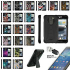 For LG K7   Tribute 5   Treasure Dual Layer Advance Stand Case + Tempered Glass