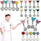 Butterfly Pocket Nurse Watch Fobwatch Clip-on Fob Tunic Medical Brooch Quartz image