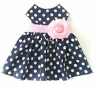 Navy Blue Polka Dot Pink Floral Pet Dog Apparel Clothing Harness Dress XXXS to L