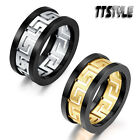 TTstyle 10mm Width Greek Key S.Steel Band Ring Silver/Gold With Black Edge NEW
