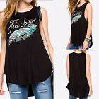 New Casual Women Feather Print Black Tank Tops Summer T Shirts Blouse Vest ATAU