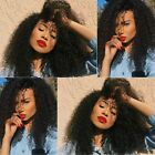 Top Afro Kinky Curly  Remy Human Full/Front Lace Wig Baby Hair Bleached Knots