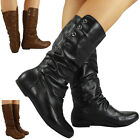 NEW WOMENS PIXIE MID CALF ROUCHED FLAT PULL ON KNEE LADIES SLOUCH BOOTS SIZE