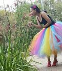 Long Tutu Multi colour Rainbow  Festival Rave skirt Ladies tulle Skirt 8-22