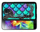 PERSONALIZED RUBBER CASE FOR SAMSUNG NOTE 3 4 5 MERMAID PURPLE BLUE SCALES