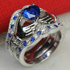 Blue Sapphire Irish Heart Claddagh 925 Silver 3 Ring Engagement wedding Ring Set
