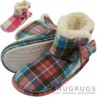 Ladies / Womens Tartan Style Ankle Slipper Boots / Booties with Faux Fur Inner