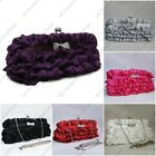 Satin Ruffle Crystal Bow Kiss Lock Wedding Party Prom Ball Evening Cluth Bag