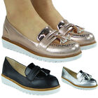New Womens Flat Platform Ladies Tassel Patent Slip On Pumps Loafers Shoes Size