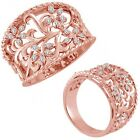 0.15 Carat G-H Diamond Lovely Classy Fancy Flower Designer Ring 14K Rose Gold