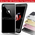 Jet Black For iPhone 6 6s 7 Plus Case Full Protection Hard Slim Case +Glass Film