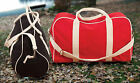100% Cotton Canvas Bag Red Navy Black Natural Double Zip Adjustable Straps NEW