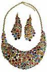 ICE (6435-1) Solid Feel Sparkle Diamante Necklace & Earrings Set Multi Colour