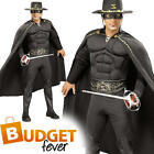 Deluxe Zorro Mens Movie Hero Fancy Dress Adults Masked Bandit Costume Outfit