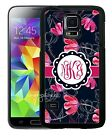 MONOGRAMMED RUBBER CASE FOR SAMSUNG NOTE 3 4 5 7 NAVY HOT PINK FLOWERS
