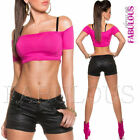 New Sexy Women's Faux Leather Look Hot Pants Summer Clubbing Wear XS S M L XL