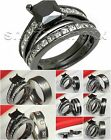 Black Rhodium Womens 925 Silver Mens Titanium Wedding Ring Engagement Ring Set
