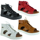 New Womens Ladies Peeptoe Cutout Lace Up Flat Cleated Sole Sandals Shoes Size