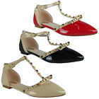 New Womens Ladies T-Bar Buckle Studs Office Work Flat Strappy Sandals Shoes Size