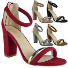 Womens Ladies Faux Suede Ankle Strap High Block Heel Party Sandals Shoes Size