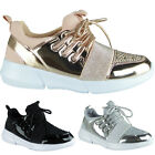 New Womens Ladies Trainers Diamante Lightweight Flat Sneakers Pumps Shoes Size
