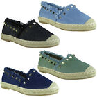 Womens Ladies Denim Slip On Ballerina Studs Espadrilles Shoes Sandals Flats Size