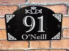 Engraved Personalised Modern House Number Door Gate Wall Sign Plaque Irish