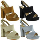 Womens Ladies Faux Suede Slingback Strap High Block Heel Party Sandals Shoes Siz