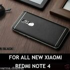* LEATHER BACK CHROME BUMPER * Back Cover Case For Xiaomi Redmi Note 4