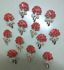 Bulk Diamante Crystal Red Poppy Flower Pin Brooch Banquet Broach Remembrance Day