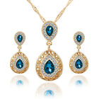 Teardrop Necklace & Earring Set Made With Swarovski Crystals Elements Gold Toned