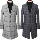 New Fashion Mens Stylish Woolen Check Coat Blazer Jacket Jumper Outwear Top E010