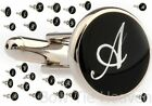SINGLE SILVER & BLACK LETTER MIX MATCH INITIAL CUFFLINK not the cheap plastic.