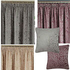 Fern Luxury Chenille Pencil Pleat Lined Curtains, Grey, Natural & Mauve *SALE*