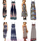 Ladies Floral Stripes Boho Hippie Summer Beach Holiday Maxi Dress Cocktail Party