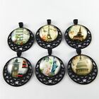 5 pcs Black Alloy Famous Building Pattern Glass Cameo Moon Charms Pendant Crafts
