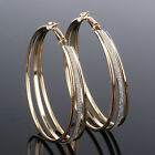 Fashion Frosted Multi Layer Earrings For Women Large Circle Hoop Lady Jewelry