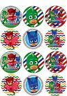 "1.5"" Precut Icing Cupcake Toppers PJ MASKS 12 or 24 OWLETTE GEKKO CATBOY"