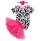 Cute 3PCS Newborn Baby Girl Romper Tutu Skirt Hedband Outfit Party Clothes Set