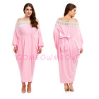 Womens Off-Shoulder Long Sleeve Plus Size Batwing Bowknot High Waist Lace Dress