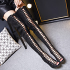 New Womens Over Knee Thigh High Boots Open Toe Stilettos Lace Up Zip Sandals Sz