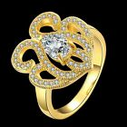 Clear Oval Round Cubic Zircon 18 K Gold Filled Copper Lady Girl Engagament Ring